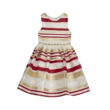 Rare Editions Big Girl Burnout Organza Stripe Fit And Flare Dress