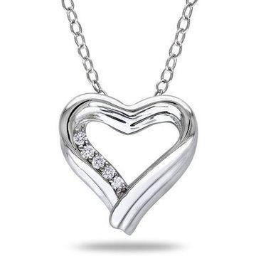 Miabella Diamond-Accent Sterling Silver Heart Necklace, 18