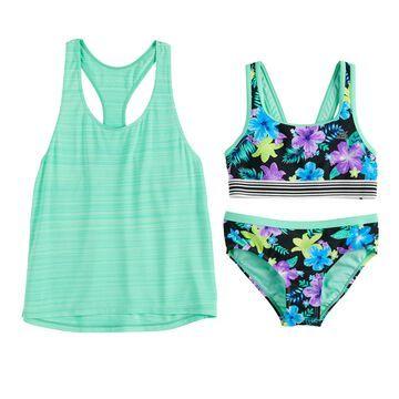 Girls 7-16 ZeroXposur Desert Rose Tank, Top & Bottoms Swimsuit Set