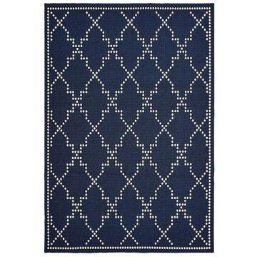 Archer Lane Eldon 9 x 13 Navy Indoor or Outdoor Geometric Industrial Area Rug in Blue | 776MAI5B0L