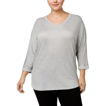 Celebrity Pink Womens Plus Heathered Dolman Sleeves Knit Top