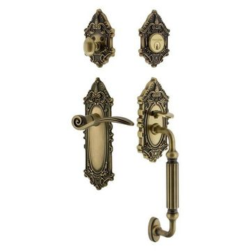 Victorian Plate F Grip Entry Set Swan Lever, Antique Brass, 2-3/4