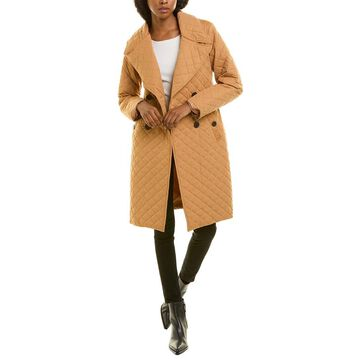 Avec Les Filles Quilted Double-Breasted Long Trench Coat