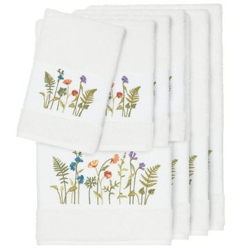 Authentic Hotel and Spa White Turkish Cotton Wildflowers Embroidered 8 piece Towel Set