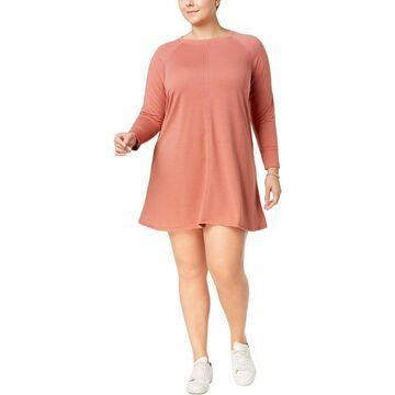 No Comment Womens Plus Lace Back Mini T-Shirt Dress