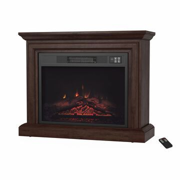 Portable Electric Fireplace with Mantel - Heater by Northwest (Brown) - 31 x 10.75 x 25