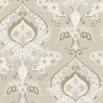 Beacon House Ashbury Beige Paisley Damask Wallpaper