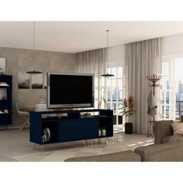 Rockefeller 62.99 TV Stand with Metal Legs and 2 Drawers by Manhattan Comfort (Tatiana Midnight Blue)