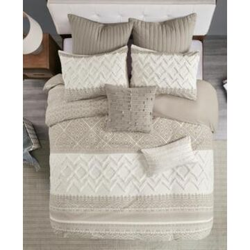 Ink+Ivy Mila 3 Piece Printed Duvet Cover Set with Chenille, Full/Queen Bedding