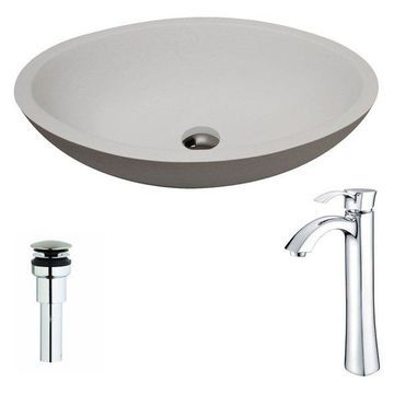 ANZZI Maine Series ANZZI Stone Vessel Sink with Harmony Faucet, Polished Chrome