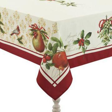 Laural Home Festive Opulence 144-Inch Oblong Tablecloth in Red/Beige