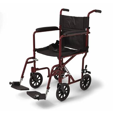 Medline Aluminum Transport Chair (Red)