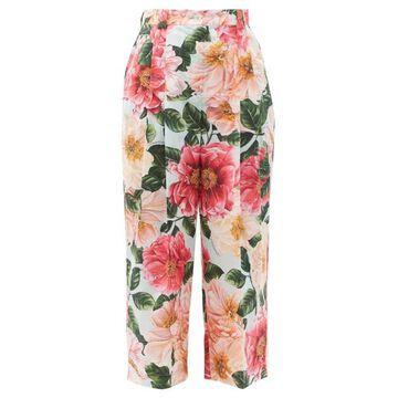 Dolce & Gabbana - Camellia-print Cotton Wide-leg Trousers - Womens - Pink Print