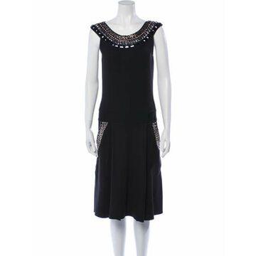 Silk Midi Length Dress Black