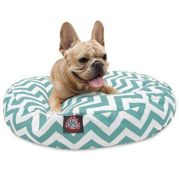Majestic Pet Chevron Round Dog Bed Treated Polyester Removable Cover Teal Small 30 x 30 x 4