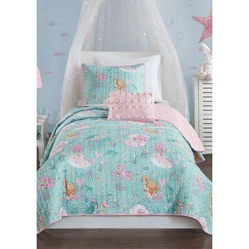 Jla Home Darya Mermaid Reversible Coverlet Set - -