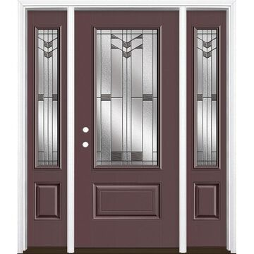 Masonite Frontier 64-in x 80-in Fiberglass 3/4 Lite Right-Hand Inswing Currant Painted Prehung Single Front Door with Sidelights with Brickmould in