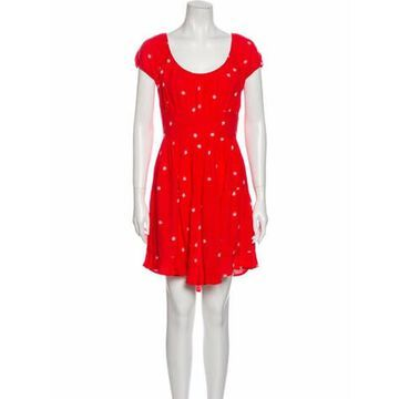 Printed Knee-Length Dress Red