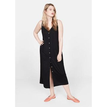 Violeta BY MANGO - Ribbed buttonned dress black - 18 - Plus sizes