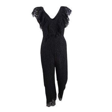 Bardot Women's Malia Cropped Lace Jumpsuit (XS, Black) - XS