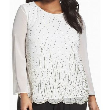 Alex Evenings Chiffon Embellished Women's Plus Blouse