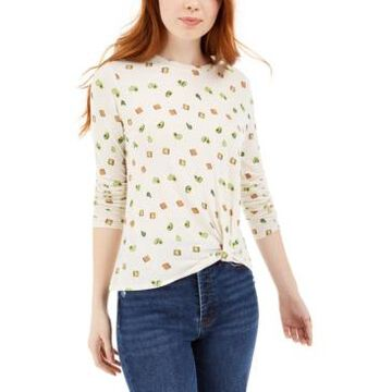 Self Esteem Juniors' Avocado Toast Printed Twist Front T-Shirt