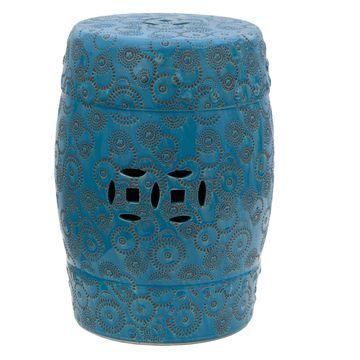 Oriental Furniture Spherical Design Porcelain 18 in. Garden Stool