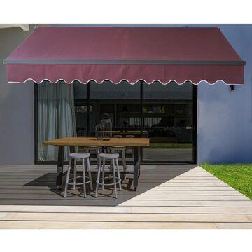ALEKO Motorized 12'x10' Black Frame Retractable Home Patio Canopy Awning Burgundy