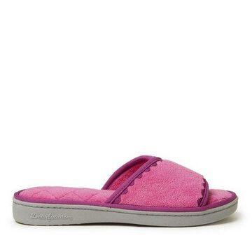 Dearfoams Womens Microfiber Terry Slide with Trim slippers