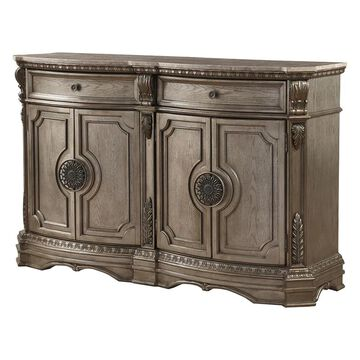 ACME FURNITURE Northville Antique Silver RubberSideboard Marble   66925