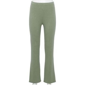 Juniors' WallFlower Cotton Ribbed Flare Pants, Girl's, Size: Large, Lt Green