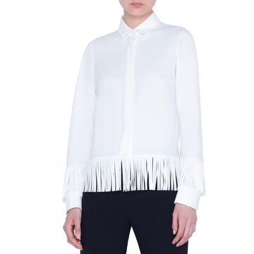 Blouse with Faux-Leather Fringe