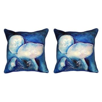Pair of Betsy Drake Blue Jellyfish Large Indoor/Outdoor Pillows 18x18