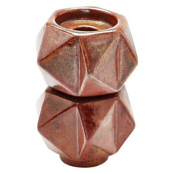 Lazy Susan Small Ceramic Star Candle Holders, Russet, Set Of 2