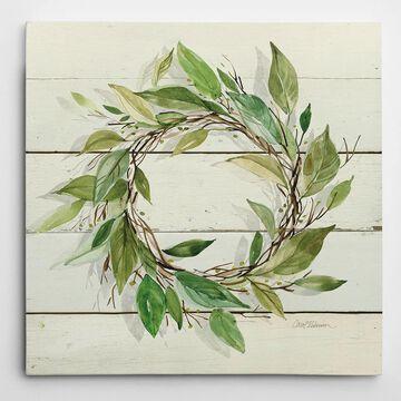 Wexford Home Carol Robinson 'Bay Leaf Wreath' Wrapped Canvas Art