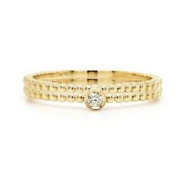 Auriya 0.03ctw Stackable Diamond Rings 10k Gold Set of 2 Ultra-Thin