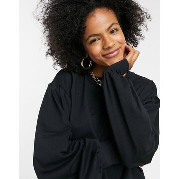 Noisy May sweat top with volume sleeves in black-Gray