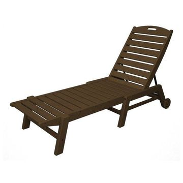 POLYWOOD Nautical Chaise with Wheels in Teak