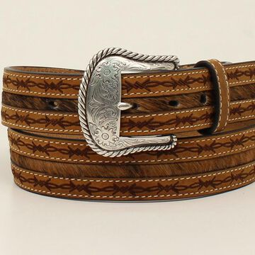 N2410208-34 Mens Barbwire Edge Hair on Belt & Buckle, Tan - Size 34