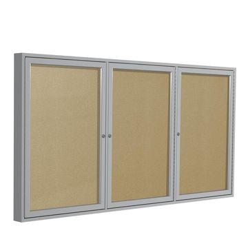Ghent 3 Door Enclosed Vinyl Bulletin Board Satin Frame 4H x 8W Caramel
