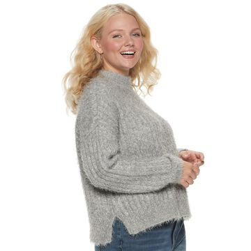 Juniors' Plus Size Candie's Animal Eyelash Mock Neck Pullover Sweater