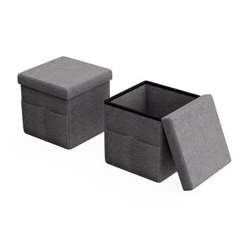 Lavish Home 2 Foldable Storage Cubes with Pockets