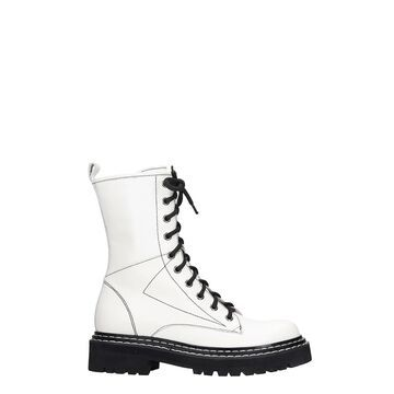 Bibi Lou Combat Boots In White Leather