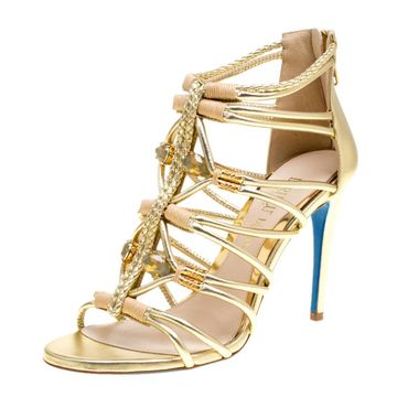 Loriblu Bijoux Metallic Gold Leather Crystal Embellished Strappy Sandals Size 37.5