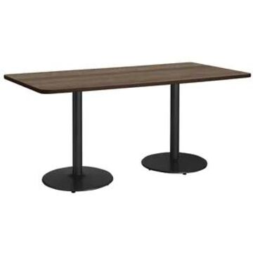 "KFI Mode Multipurpose Table, Round Silver Base, Standard Height (30"" x 72"" top - studio teak)"