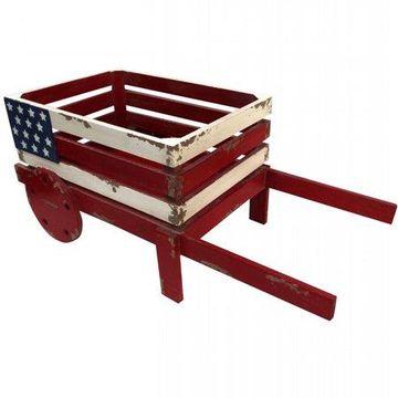 Alpine American Flag Wooden Wheel Barrel Planter, 9 Inch Tall
