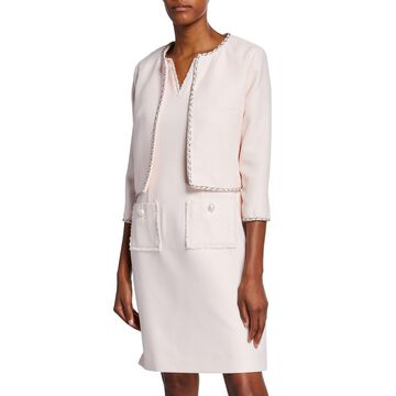 Cropped 3/4-Sleeve Chain Trim Jacket