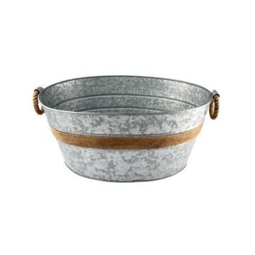 Thirstystone by Cambridge Galvanized Beverage Tub with Rope Handles