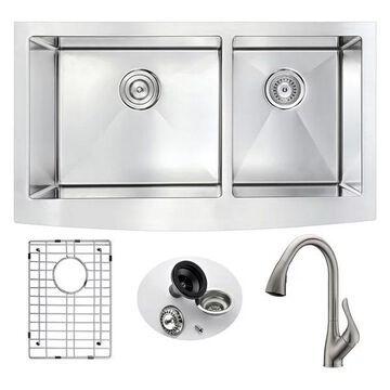 ANZZI Elysian Farmhouse 33 In. Double Bowl Kitchen Sink w/ Accent Fauc