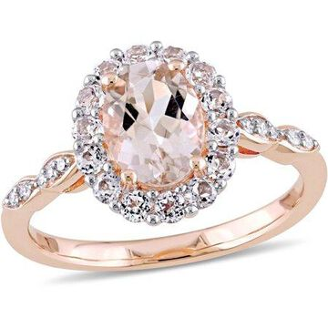 1-3/4 Carat T.G.W. Morganite, White Topaz and Diamond-Accent 14kt Rose Gold Vintage Ring